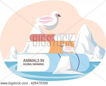 Two Polar Birds Are Sad About Climate Change And Global Warming. Animals During Global Warming Conce