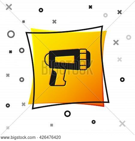 Black Flashlight For Diver Icon Isolated On White Background. Diving Underwater Equipment. Yellow Sq