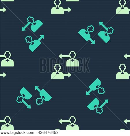 Green And Beige Substitution Football Player Icon Isolated Seamless Pattern On Blue Background. Play