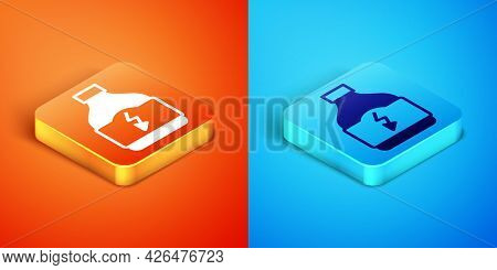 Isometric Sports Nutrition Bodybuilding Proteine Power Drink And Food Icon Isolated On Orange And Bl