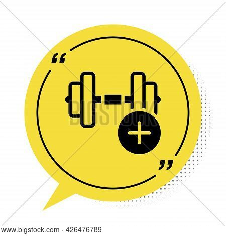 Black Dumbbell Icon Isolated On White Background. Muscle Lifting, Fitness Barbell, Sports Equipment.