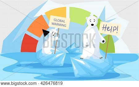 Polar Bears Are Very Sad About Melting Glaciers. Animals During Global Warming Concept. Family Of Po