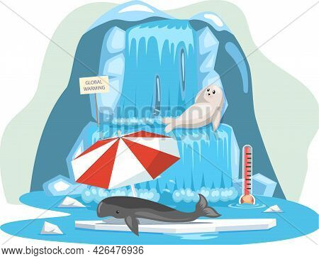 Seal Lies Near Iceberg And Escape From Climate Change And Global Warming. Animals During Global Warm