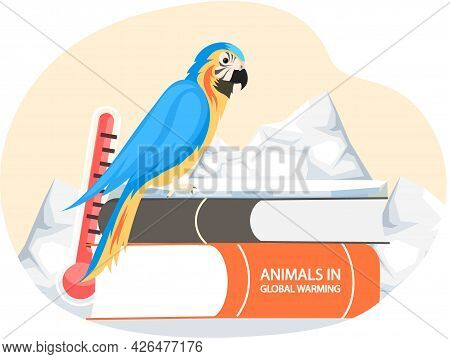 Climate Change And Global Warming. Ara Parrot Suffers From Melting Glaciers. Literature About Animal
