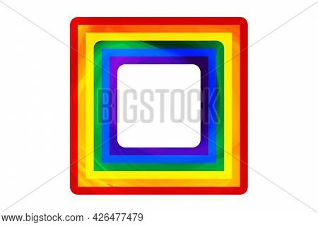Flag Lgbt Icons, Squared Frame. Template Border, Vector Illustration. Love Wins. Lgbt Symbols In Rai