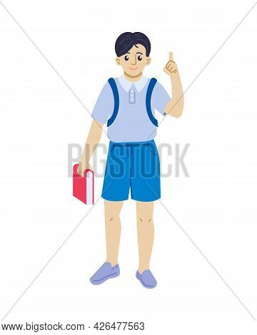 Boy With Book Pointing Finger Up Vector Illustration. School Boy Having An Idea Concept. Flat Style