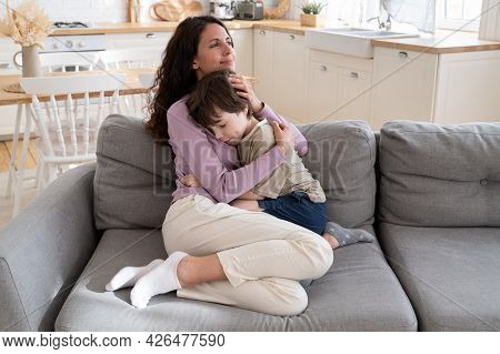 Affectionate Mother Parent Caring Embrace Little Son Expressing Family Connection And Tenderness. Lo