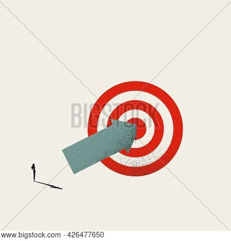 Business Hit Target Vector Concept With Businesswoman Hitting Bullseye. Symbol Of Success, Achieveme