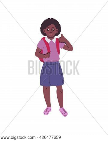 African Girl Gesturing Thumbs-up Vector Illustration. Back To School Concept. Flat Style Design. Sch