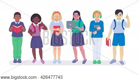 Back To School Flat Icons Set, Colorful Symbols Pack Contains - Multiethnic School Kids With Books,