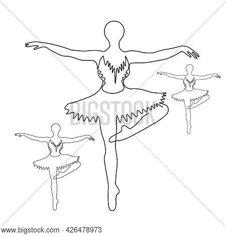 A Ballet Dancer In A Ballet Pose. A Ballerina Drawn With A Single Line. Ballerina One Line