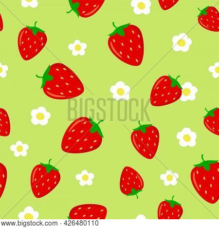 Seamless Pattern With Bright Red Strawberries And Strawberry Flower On Green Background.