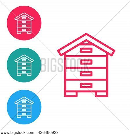 Red Line Hive For Bees Icon Isolated On White Background. Beehive Symbol. Apiary And Beekeeping. Swe