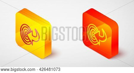 Isometric Line Target Financial Goal Concept Icon Isolated On Grey Background. Symbolic Goals Achiev