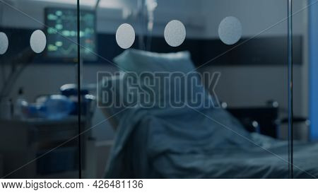 Nobody In Emergency Hospital Ward At Healthcare Facility For Intensive Care And Surgery Recovery. Em