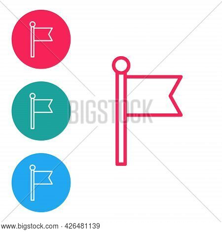 Red Line Flag Icon Isolated On White Background. Victory, Winning And Conquer Adversity Concept. Set