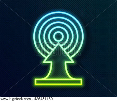 Glowing Neon Line Target With Arrow Icon Isolated On Black Background. Dart Board Sign. Archery Boar