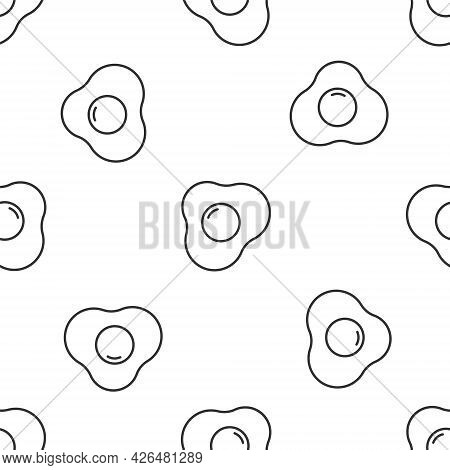 Grey Line Scrambled Eggs Icon Isolated Seamless Pattern On White Background. Home Cooked Food, Fried