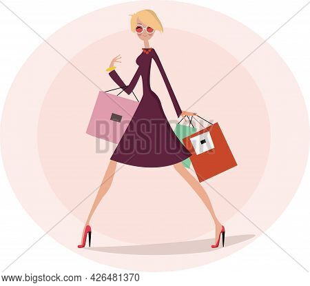 Blonde Woman In Dress With Shopping Bags