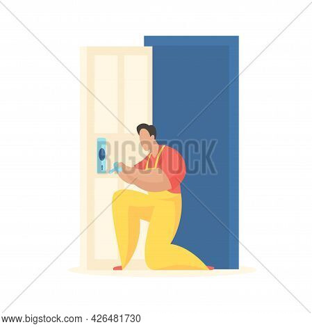 Man Inserts Lock Into Door. Uniformed Carpenter Tightens Entry Handle. Repair Work And Replacement O