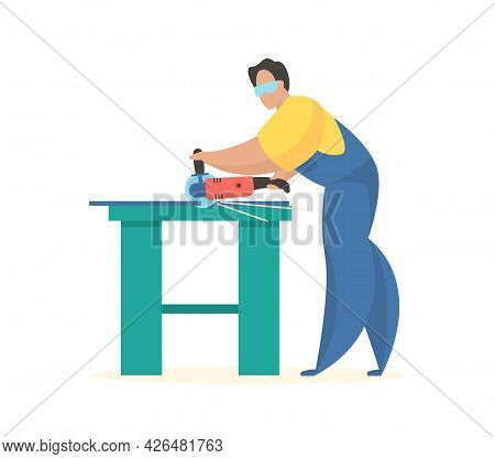 Worker With Grinder. Professional And Local Cutting Of Accessories. Man In Uniform At Table Cuts Off
