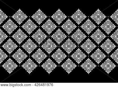 Wallpaper In The Style Of Baroque. Modern Vector Background. White And Black Floral Ornament. Graphi
