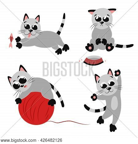 A Set Of Cute Little Kittens. Collection With Games And Various Activities Of Cats. Cool Mascot Char