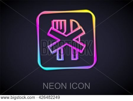 Glowing Neon Line Ramadan Fasting Icon Isolated On Black Background. Religious Fasting. Vector