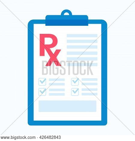 A Doctors Prescription Form. Vector Illustration. Medicine And Healthcare. Isolated On A White Field