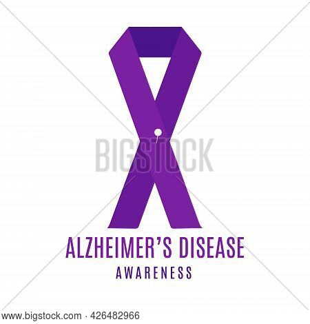 Alzheimer Disease Awareness Ribbon With A Pin