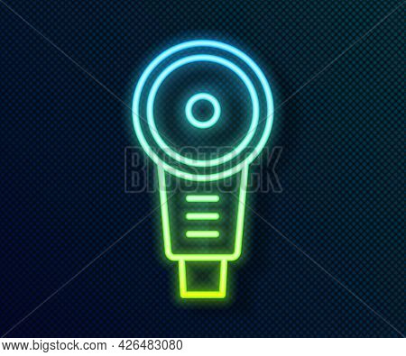 Glowing Neon Line Angle Grinder Icon Isolated On Black Background. Vector
