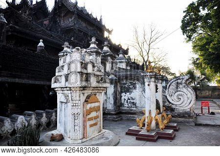 Shwenandaw Kyaung Golden Palace Monastery Pagoda Paya Temple Or Teak Wood Inscription Shrine For Bur