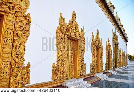 Art Door Window Of Maha Atulawaiyan Stupa Chedi Of Atumashi Pagoda Paya Temple Or Kyaungdawgyi Inscr