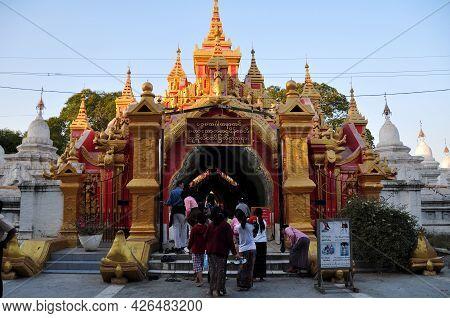 Maha Lawka Marazein Golden Stupa Pagoda Paya Temple Or Kuthodaw Inscription Shrine For Burmese Peopl
