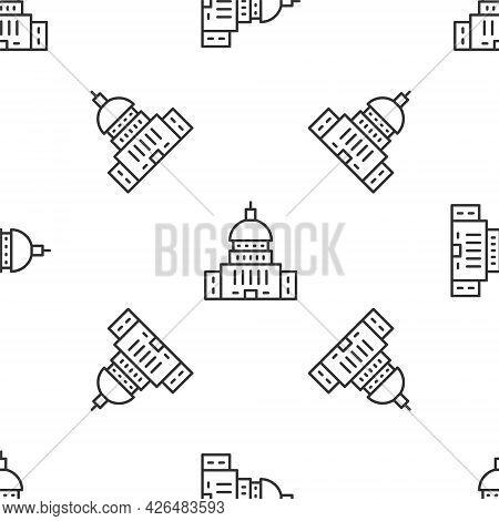 Grey Line White House Icon Isolated Seamless Pattern On White Background. Washington Dc. Vector