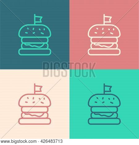 Pop Art Line Burger Icon Isolated On Color Background. Hamburger Icon. Cheeseburger Sandwich Sign. F