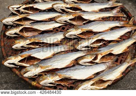 Local Life Lifestyle Of Macanese People Dried Sun Fish Seafood For Food Preserves On Bamboo Wicker B