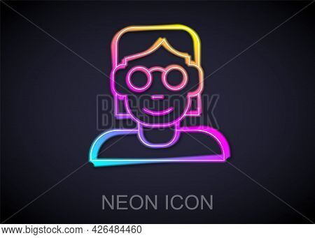 Glowing Neon Line Hacker Or Coder Icon Isolated On Black Background. Programmer Developer Working On