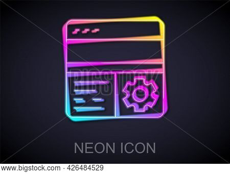 Glowing Neon Line Debugging Icon Isolated On Black Background. Debugging Tool. Magnifying Glass On B