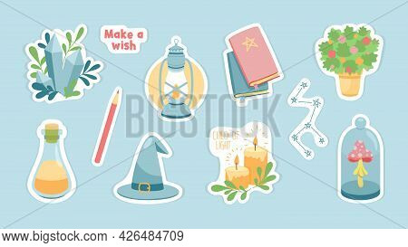 Magic Items And Accessories Stickers. Flask With Potion And Magic Crystal. Spell Books With Witchs H