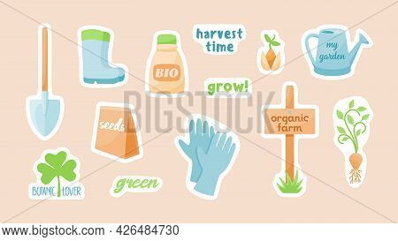 Gardening Tools Farm Stickers. Garden Shovel With Rubber Boots And Gloves. Wooden Signpost Organic F