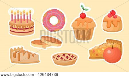 Cakes And Sweet Pastries Stickers. Cupcakes With Cherries And Cream Frosting. Apple And Raspberry Ta