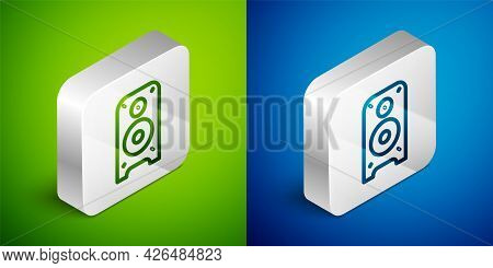 Isometric Line Stereo Speaker Icon Isolated On Green And Blue Background. Sound System Speakers. Mus