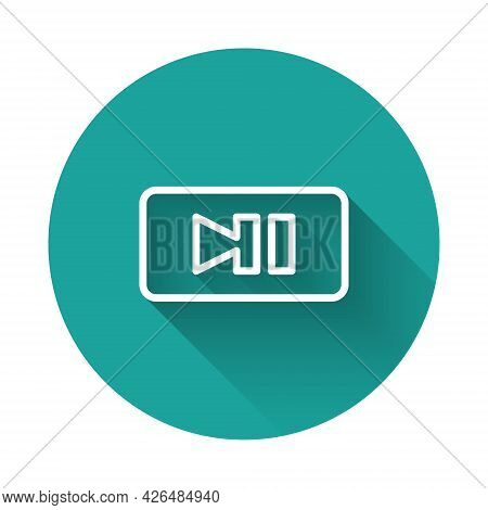 White Line Pause Button Icon Isolated With Long Shadow Background. Green Circle Button. Vector