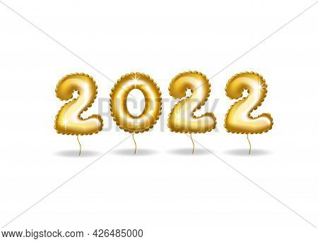 Happy New 2022 Year. Holiday Vector Illustration Of Golden Numbers