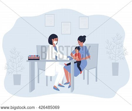The Nurse Takes A Finger Test From The Child. The Baby Is Sitting In Mom's Arms. Collection Of Capil