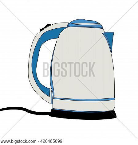 Flat Colorful Continuous Drawing Line Art Electric Kettle Icon Vector Illustration Concept