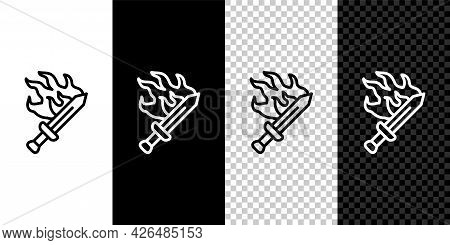 Set Line Sword For Game Icon Isolated On Black And White, Transparent Background. Vector