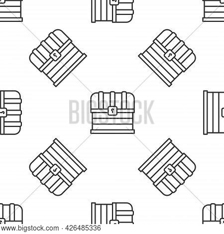 Grey Line Antique Treasure Chest Icon Isolated Seamless Pattern On White Background. Vintage Wooden