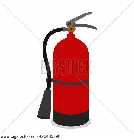 Red Balloon With Foam For Extinguishing The Fire. Fire Extinguisher Icon Isolated On White Backgroun